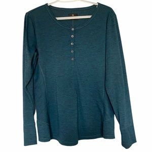 Wind river casual long sleeve top 3/4 front button